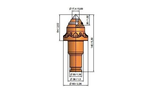 Wysokość części roboczej 64/68mm
