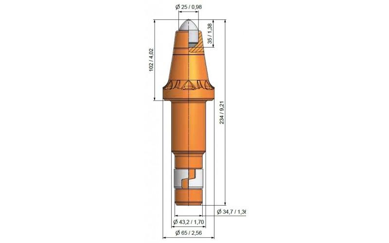 Wysokość części roboczej 102mm